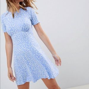 Cute, light blue dress with white polka dots
